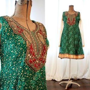 indian boho kurta dress green gold beaded